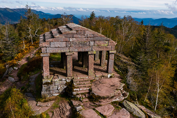 Monument on the Donon mountain peak in the Vosges. Historic sacred place where the rituals of the Celts and Proto-Celts took place.