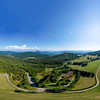 Aerial drone 360-degree panoramic view of Vosges mountains. Alsace, France.