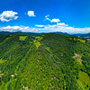 Wide aerial high resolution panoramic view of Vosges mountains, Alsace, France.
