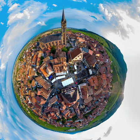 Panoramic little-planet view of village Dambach-la-ville in Alsace.