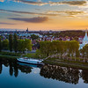Aerial view of colorful sunset over the Strasbourg