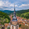 Medieval village Andlau aerial panoramic view from drone. Alsace, France.