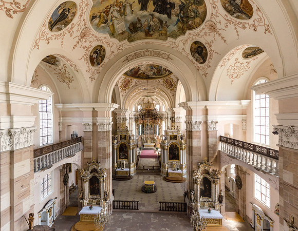 Majestic interior of Church Saint Maurice in Ebersmunster, aerial panoramic view, France, Alsace