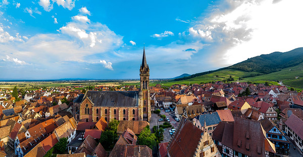 Aerial drone panoramic view of  village Dambach-la-Ville in Alsace.