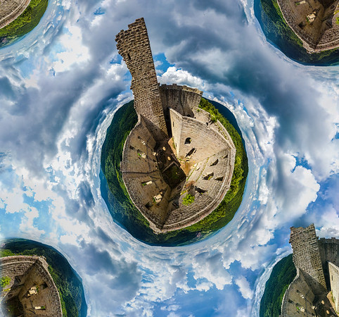 Little planet view of castle Spesbourg in Alsace, France. Old medieval castle located on the top of the hill over the beautiful green valley