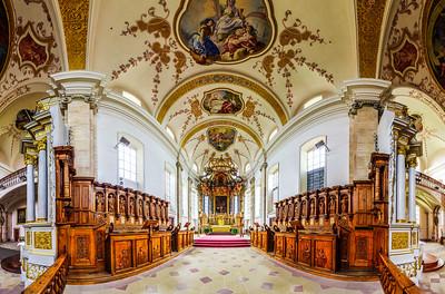 Panoramic view of beautiful baroque church interior