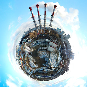 Little planet panoramic aerial view of industrial unhealthy zone near Moscow