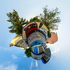 Little planet view of typical croatian street
