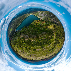 Spherical panorama in the projection little planet. View from the drone of the White Lake in the Vosges, Alsace.