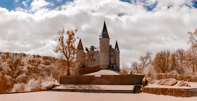 Medieval Veves castle near Namur, infrared view