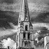 Abbey Saint-Germain in Auxerre, infrared view, spring sunny day, France