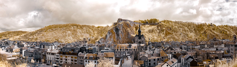 Majestic panoramic infrared view of Dinant
