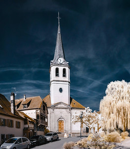 Editorial: 30th March 2017: Ville, France. Infrared view of village street
