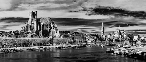 Panoramic infrared landscape view of Auxerre, France