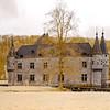Medieval belgian castle in infrared view, Spontin