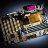 Computer mainboard detail view, closeup
