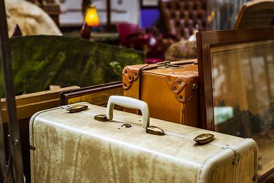 Vintage suitcase in antique shop, Bruxelles