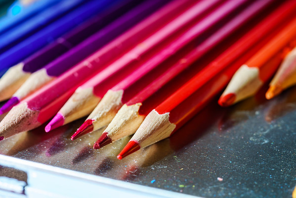 Box with colorful pencil for children painting