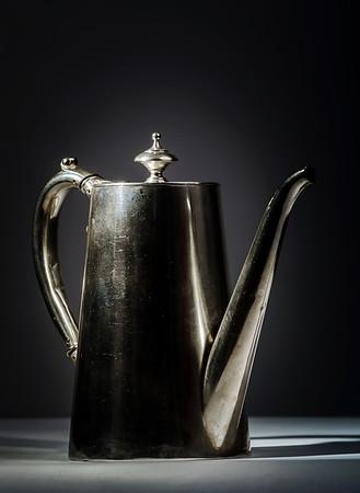 Retro steel teapot. Vintage style in interior decor