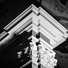 Beautiful highlighted column in black and white, architectural details