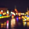 Bokeh bubbles of non-focused cityscape view