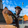 Editorial: 20th October 2017: Tarbes, France. Bronze statue of man reading newspaper
