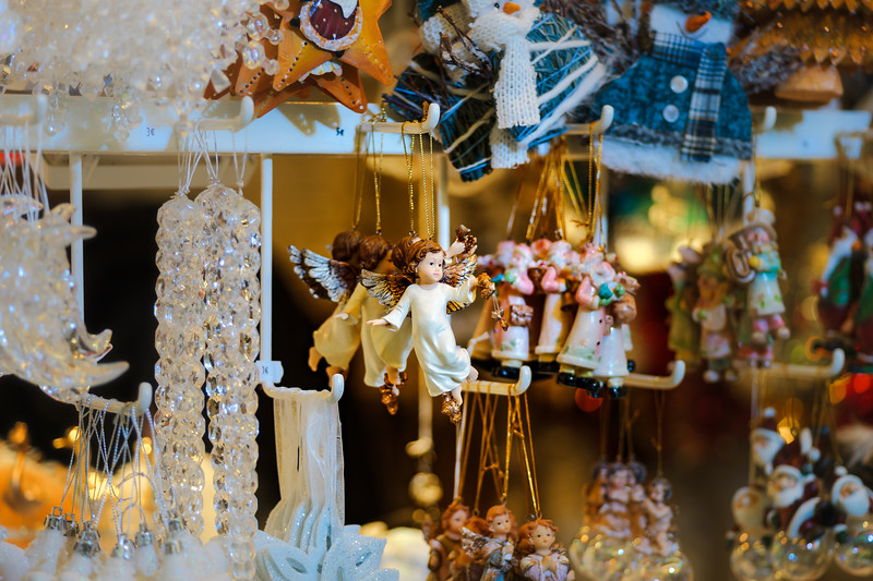 Traditional Christmas market with handmade souvenirs, Strasbourg, Alsace, France