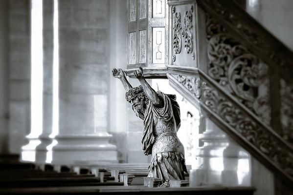 Baroque style church interior view