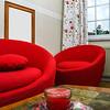 Red round sofa