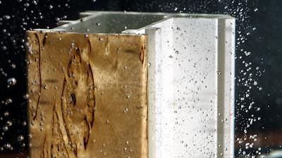 Wood veneer test by water