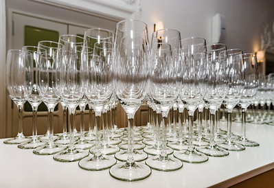 Set of glasses ready for the champagne, perspective view