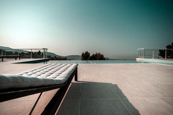 Private swimming pool. Modern villa in Nice, France.