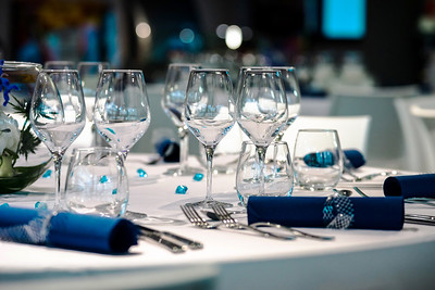 Luxury served tables in restaurant ready for party