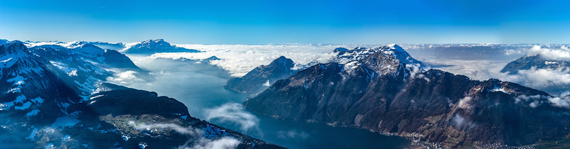 Luzern lake aerial view. Switzerland. Wide-angle HD-quality panoramic view.