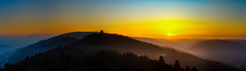 Wide panoramic view of sunset in Vosges mountains, Alsace