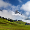 Beautiful alpine landscape. Switzerland. Wide-angle HD-quality panoramic view.