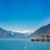 Lake Brienz. Switzerland. Wide-angle  HD-quality panoramic view.