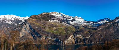 Alps in spring. Switzerland. Wide-angle HD-quality panoramic view.