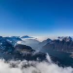 Luzern lake aerial view. Switzerland. Wide-angle HD-quality panoramic view.