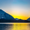 Sunset over the lake Thun, Switzerland. Wide-angle HD-quality panoramic view.