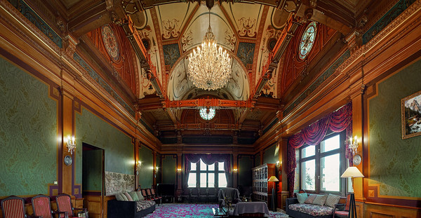 Luxury interior view of big knights hall in medieval castle