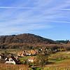 Andlau castle panoramic view through the vineyard