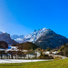 Sunny day in Alps. Switzerland. Wide-angle HD-quality panoramic view.