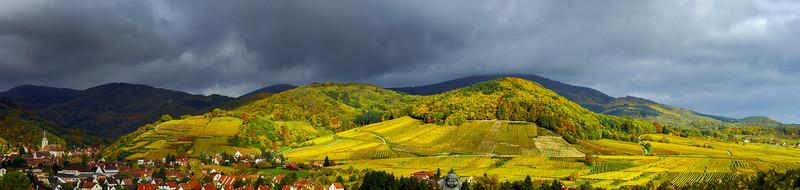 Beautiful panoramic view to Andlau, France