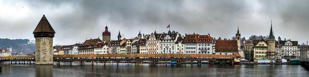 Luzern historic center. Switzerland. Wide-angle HD-quality panoramic view.
