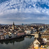 Zurich aerial view. Switzerland. Wide-angle HD-quality panoramic view.