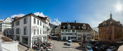 Little city Schwyz. Switzerland. Wide-angle HD-quality panoramic view.