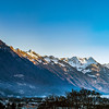 Sunrise in Alps. Switzerland. Wide-angle HD-quality panoramic view.