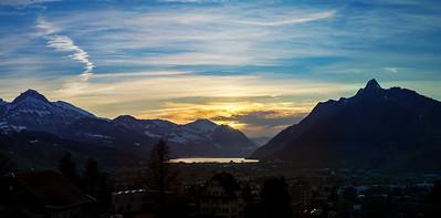 Sunset over Luzern lake. Switzerland. Wide-angle HD-quality panoramic view.