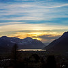 Sunset over Luzern lake. Switzerland. Wide-angle HD-quality panoramic view.